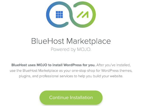 how to start a blog with bluehost - mojo marketplace installation