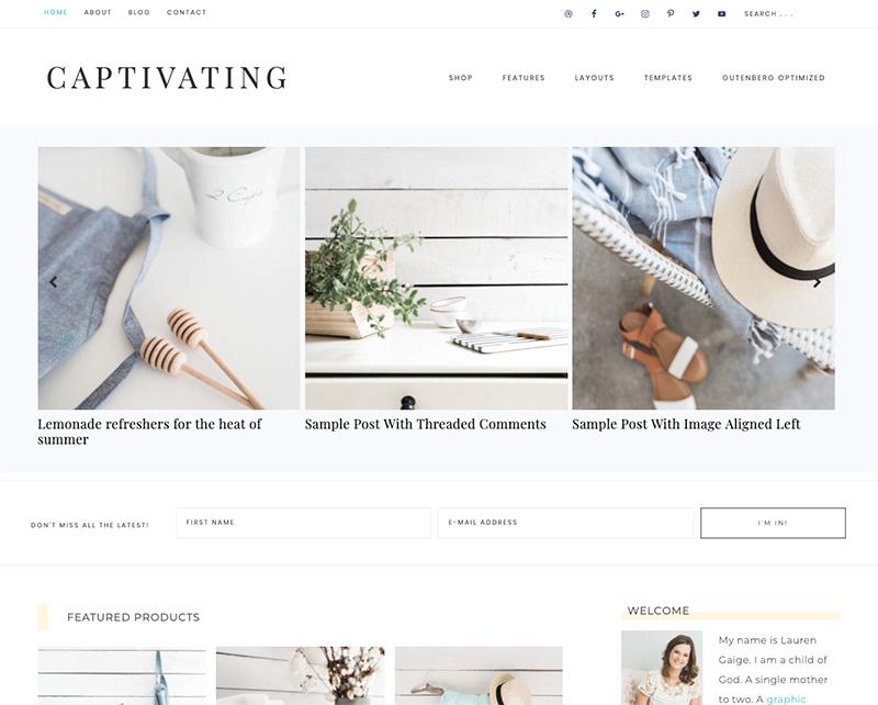 captivating wordpress theme