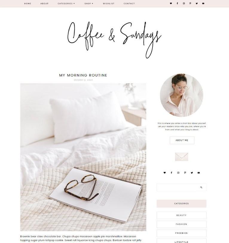 coffee and sundays genesis wordpress theme