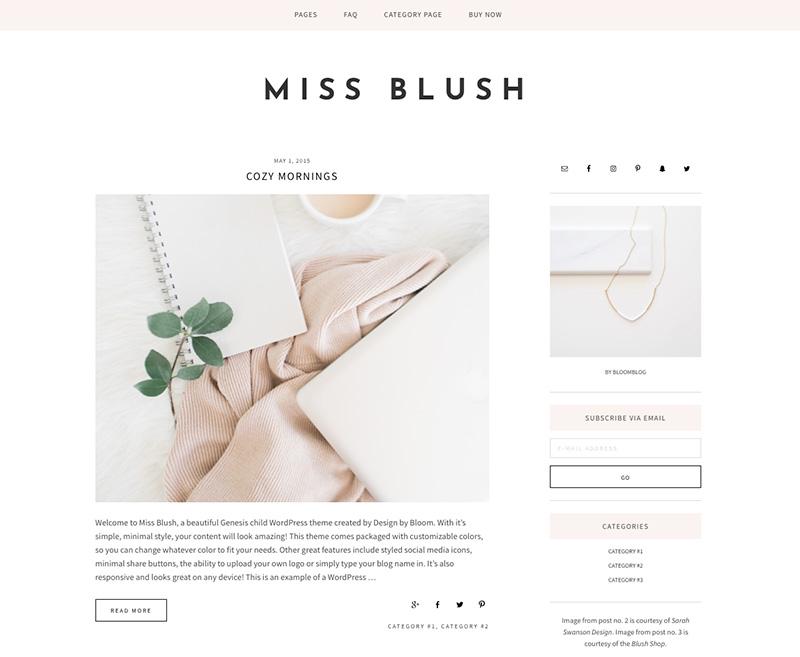 miss blush wordpress theme