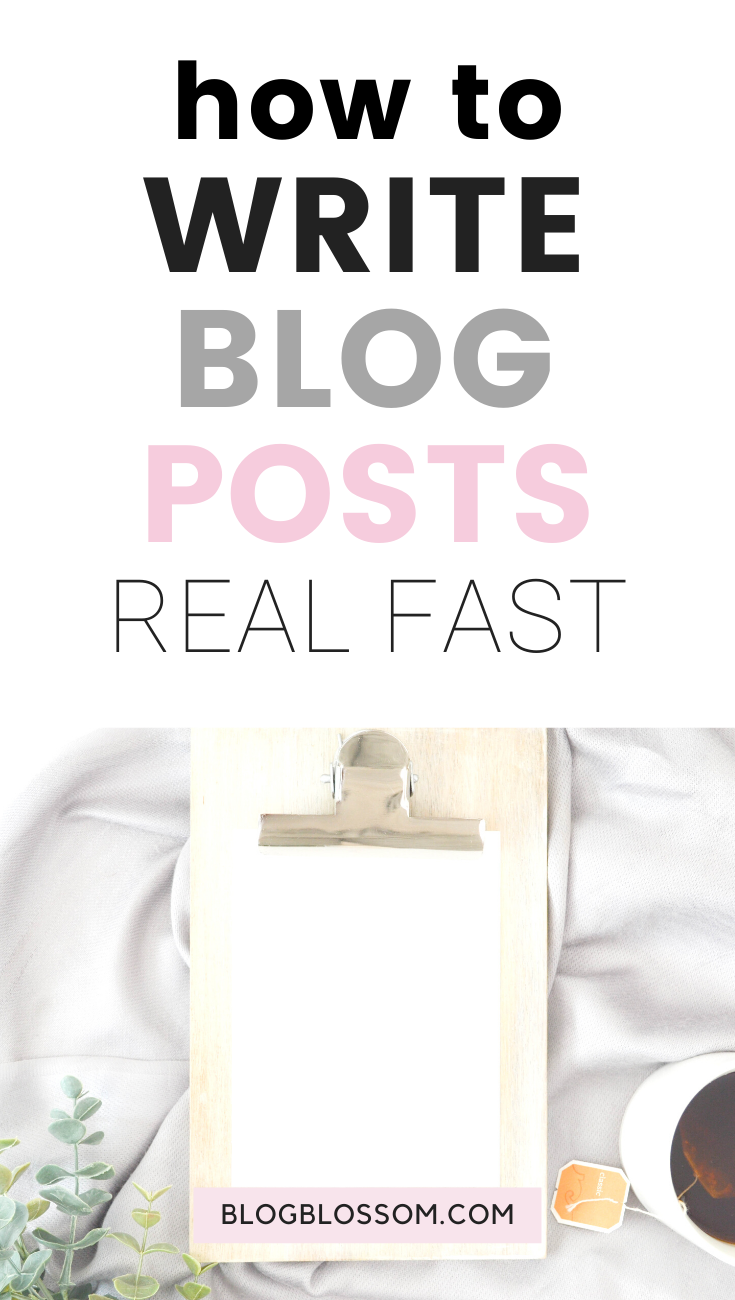 Writing good quality blog posts quickly is actually easier than you think. You just need a plan and a little bit of practice to get great at it. Here are 6 awesome tips on how to write blog posts fasterso you can get more stuff done in less time. | entrepreneur | blogger tips | plan a blog post | write a blog post in 20 minutes | batching | productivity | get organized | content calendar | grammarly | blog tips | writing tips | content creator