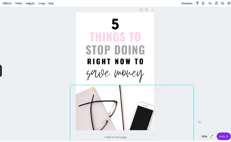 adding a stock photo in canva