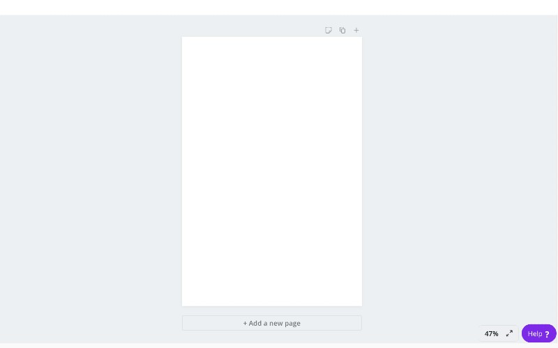 blank canva page