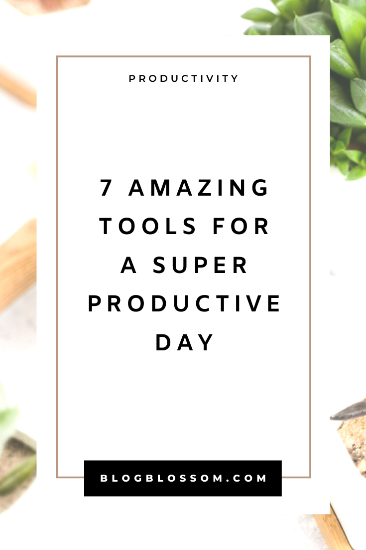 Do you have trouble staying focused and being as efficient as possible? Here are 7 amazing tools to add to your productivity toolkit for a super productive day.   business tips   stay organized   organization   time block   pomodoro   batching   stay focused   stay motivated   motivation   blog tips   blogging tips