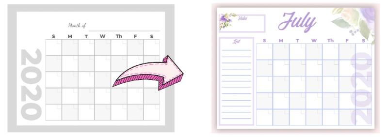 printable tutorial showing a calendar on canva